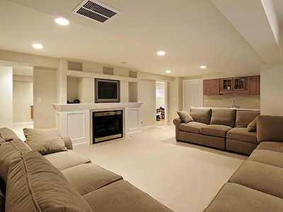 Living room in a remodeled basement