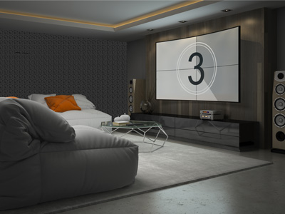 Home theater with couches and a large movie screen on the wall