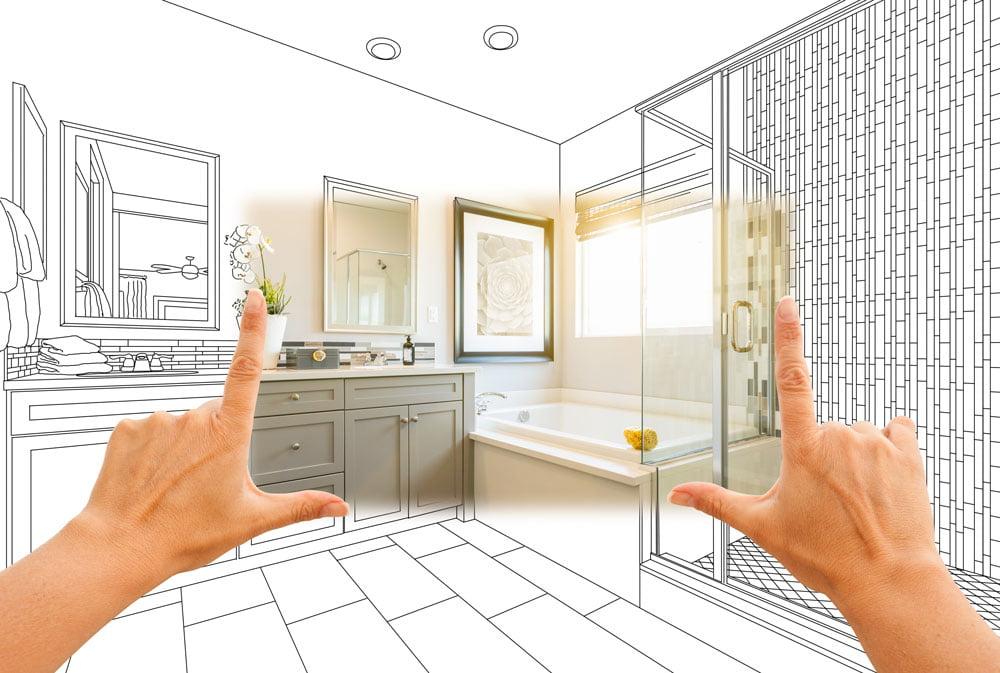 drawing of a bathroom addition