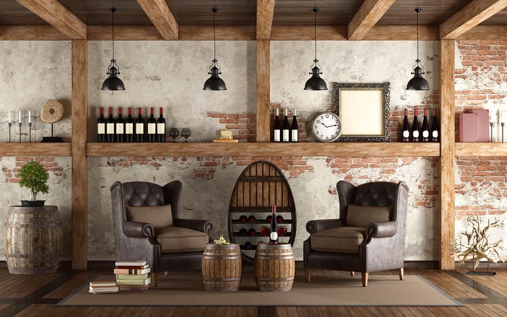 wine cellar in a basement